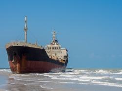 stranded tanker ship