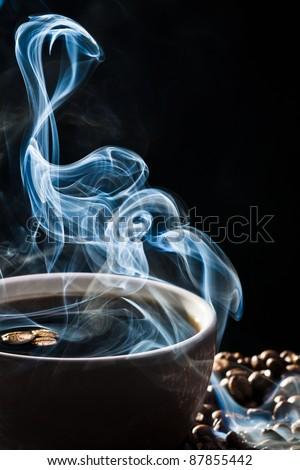 Strange blue smoke taking away from coffee