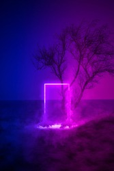 Strange fluorescent light layout with glowing neon frame,door and smoke on vibrant sea background.Copy space for poster, banner, invitation,Fairy mysterious,mystical Illustration. Paranormal portal