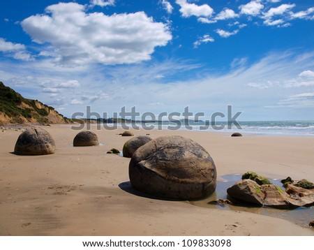 Strange geological phenomena at a sunny beach