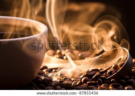 Strange golden smoke taking away from coffee seeds #87855436