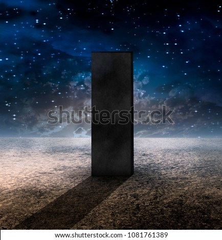 Stock Photo Strange Monolith on Lifeless Planet. 3D rendering