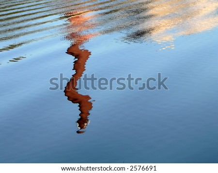 Strange reflection on surface of the water