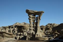Strange Rock Formation in Bisti Badlands (Alien Throne) New Mexico
