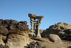 Strange Rock Formation in Bisti Badlands (Alien Throne) New Mexico