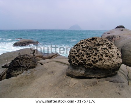 Strange rocks formed by water and waves' erosion, located on the shoreline of ocean pacific, taiwan
