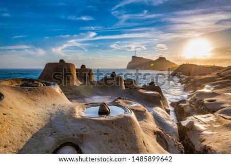 Strange rocks in Yehliu Geopark Park on the northern coast of Taiwan