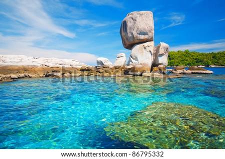 Strange rocky island in Andaman sea - stock photo