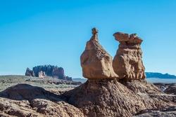 Strange shaped hoodoo rock formation Goblin Valley State Park, Utah, USA