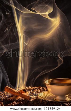 Strange smoke rising over the roasted coffee