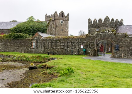 Strangford, Northern Ireland. The tower house and courtyard at Castle Ward, a famous filming location for fantasy TV shows