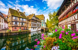 Strasbourg, Alsace, France. Traditional half timbered houses of Petite France