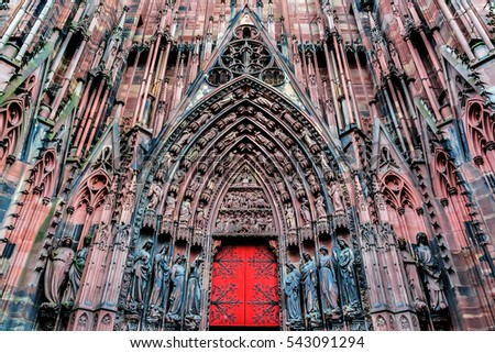 Strasbourg Cathedral (Cathedral of Our Lady of Strasbourg or Cathedrale Notre-Dame de Strasbourg, 1015 - 1439) - Roman Catholic cathedral in Strasbourg, Alsace, France. Figures from the Main Portal.