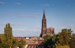 Strasbourg Cathedral over the roofs of the city