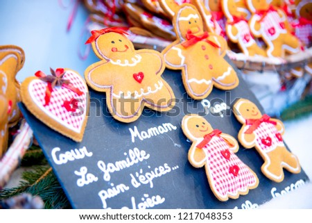 Strasbourg, France - December 2017: Marche de Noel gingerbread decorations in Strasbourg, Christmas Market in Alsace. #1217048353