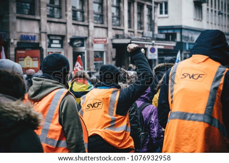 STRASBOURG, FRANCE  - MAR 22, 2018: SNCF french train worker demonstration protest against Macron French government string of reforms, multiple trade unions called public workers to strike Gilets jaun
