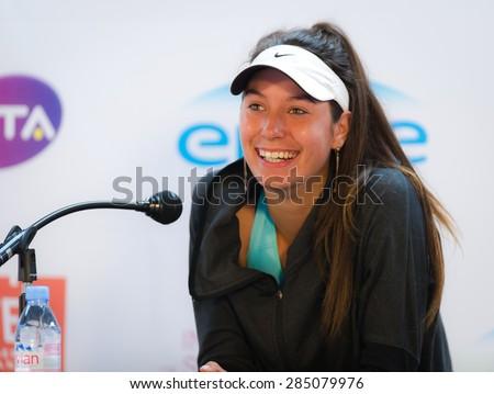 STRASBOURG, FRANCE - MAY 16 :  Oceane Dodin talks to the media at the 2015 Internationaux de Strasbourg WTA International tennis tournament