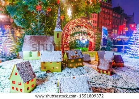 Strasbourg, France. Place Kebler and Christmas Tree, Capitale de Noel in Alsace. #1551809372