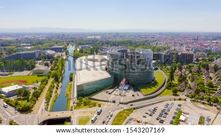 Strasbourg, France. The complex of buildings is the European Parliament, the European Court of Human Rights, the Palace of Europe, Aerial View