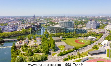 Strasbourg, France. The complex of buildings is the European Parliament, the European Court of Human Rights,  Aerial View