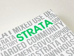 Strata handbook, green word with white and clean background