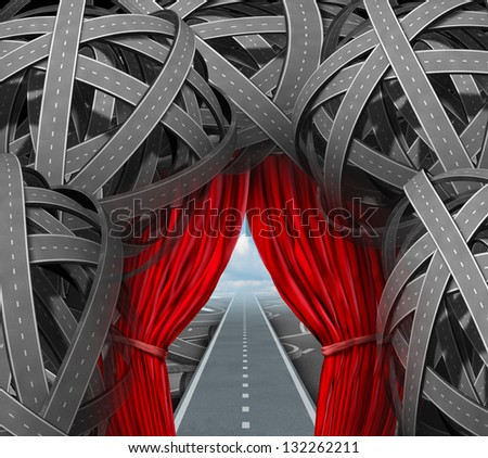 Strategic opportunity cutting through the confusion with clear strategy and solutions for business leadership with a straight success path[ with open red curtains through tangled roads and highways.