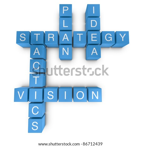 Strategic vision crossword on white background, 3D rendered illustration