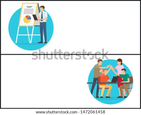 Strategy and successful team banners. Business startup components online posters. Partnership concept in work, cooperation success raster illustration