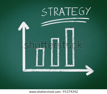 Strategy Bar Graph, handdrawn geometric bar graph showing a steady increase over three bars and the word strategy, conceptual of a successful strategy in business.