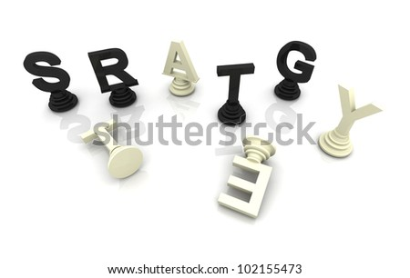 Strategy Chess 3D render font