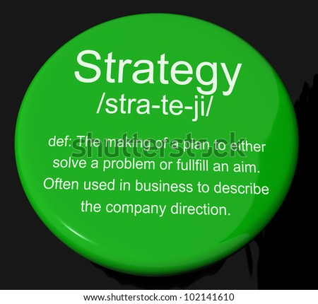 Strategy Definition Button Shows Planning Organization And Leadership
