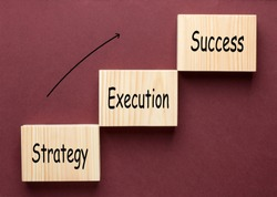 Strategy Execution Success text with wooden blocks in the shape of a staircase. Business Concept