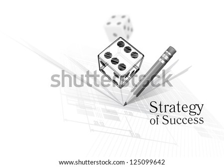 Strategy for success - illustration of dice on calculations drawing background