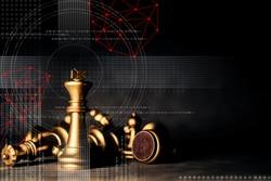 strategy ideas concept business futuristic graphic icon and golden chess board game black colot tone
