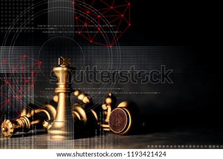 strategy ideas concept business futuristic graphic icon and golden chess board game black colot tone #1193421424
