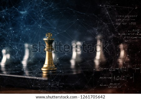 strategy ideas concept business futuristic graphic icon and golden chess board game black colot tone