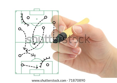 Photo of strategy or tactic plan of a ball game