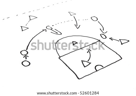 strategy or tactic plan of a ball game on white