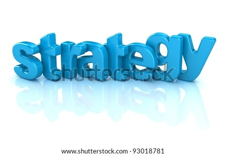 strategy text 3d isolated over white background