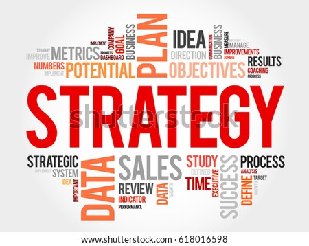 Strategy word cloud, business concept background