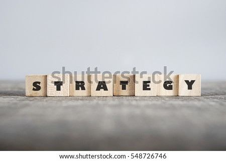 STRATEGY word made with building blocks