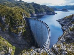 strathgordon hydroelectic dam in south west tasmania