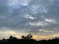 Stratocumulus clouds in the beautiful sky at Trang Province, Thailand.no focus