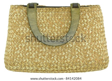 Straw Bag with wooden handles