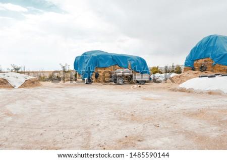 Straw bale. hay bales on farm.  #1485590144