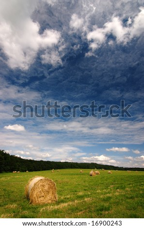 Straw bales with nice cloudy sky