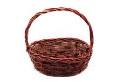 Straw basket on an isolated white background