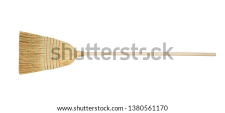 straw broom on white background  ストックフォト ©