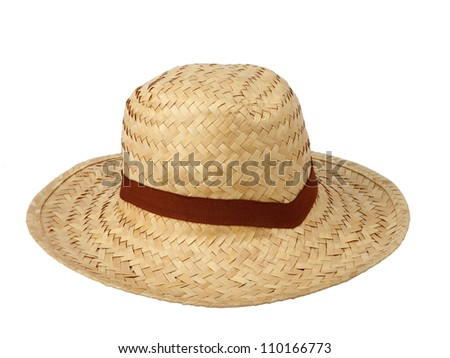 bb0b4013d31 Straw hat against isolated on white background