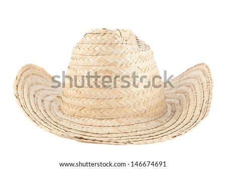 Straw hat isolated over white background, front view